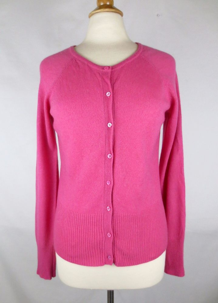 GRIFFEN 100% Cashmere Pink Button Up Cardigan Sweater L Large ...