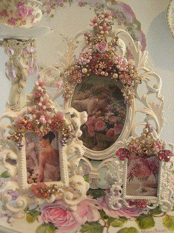 Shabby Chic Country Romantic Frame.A Gorgeous Collection Of Embellished Frames Romantic