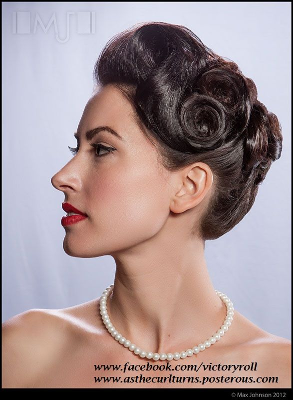 1940s Updo Www Facebook Com Victoryroll Www Asthecurlturns Posterous Com 1940s Hairstyles Vintage Hairstyles 40s Hairstyles