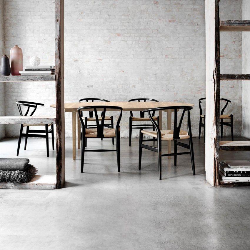 CH24 Wishbone Chair in Black Oak & Natural Paper Cord