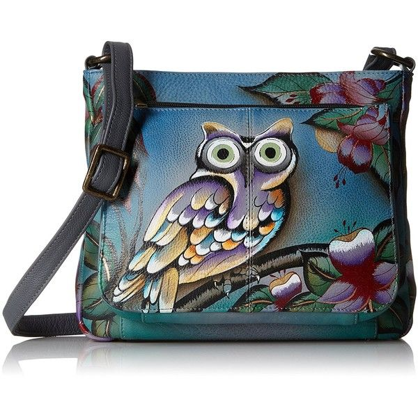 Anuschka Handpainted Leather Shoulder Bag Midnight Owl (€160) ❤ liked on Polyvore featuring bags, handbags, shoulder bags, owl purse, genuine leather purse, blue leather shoulder bag, blue handbags and genuine leather handbags