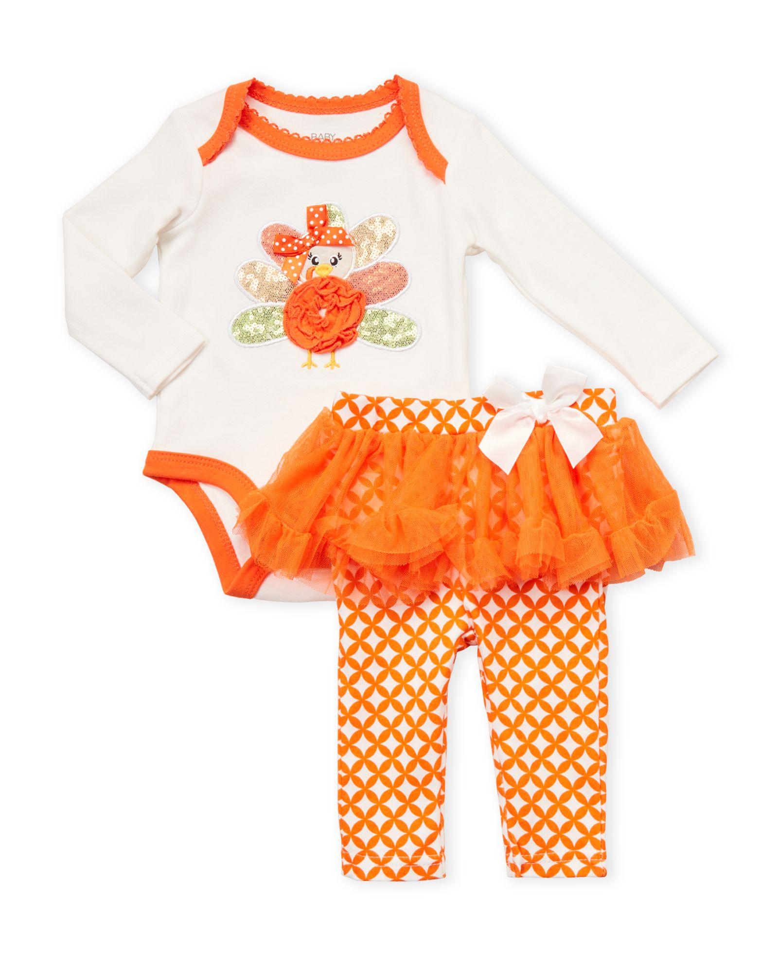 b6492070d36 Baby Essentials (Newborn Infant Girls) Two-Piece Thanksgiving Turkey  Bodysuit   Pants Se