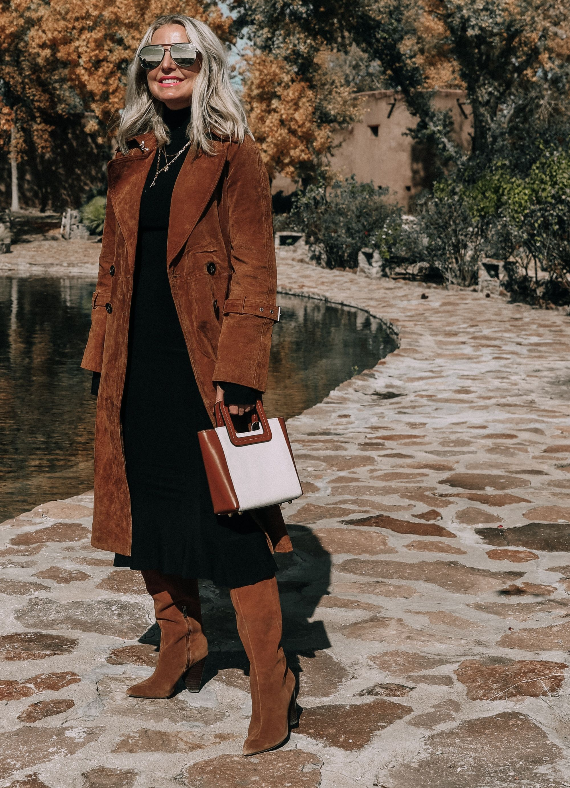 The Most Casual Yet Versatile Dress For Winter The Black Midi Dress Black Midi Dress Black Turtleneck Midi Dress Suede Trench Coat [ 2764 x 2000 Pixel ]