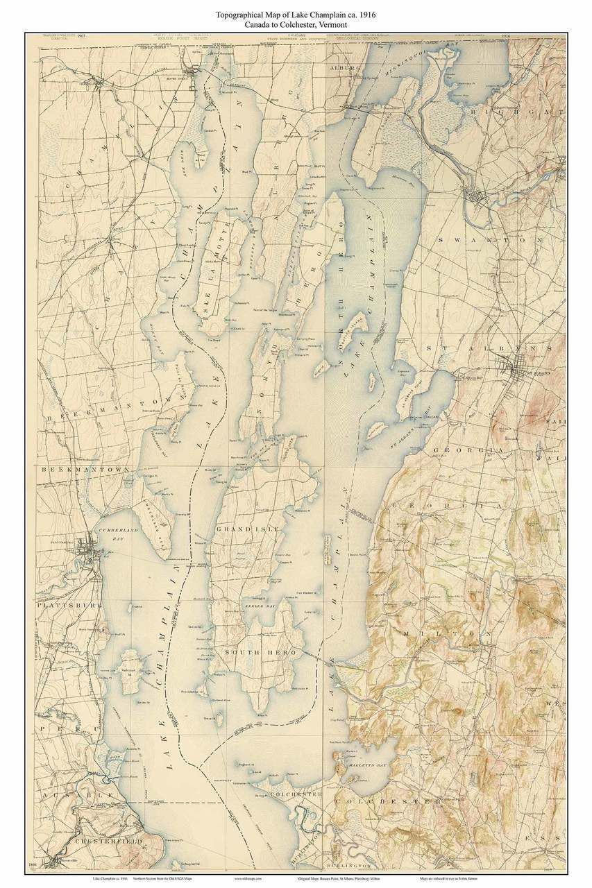 Lake Champlain, Canada to Colchester 1916 - Custom USGS Old Topo Map ...