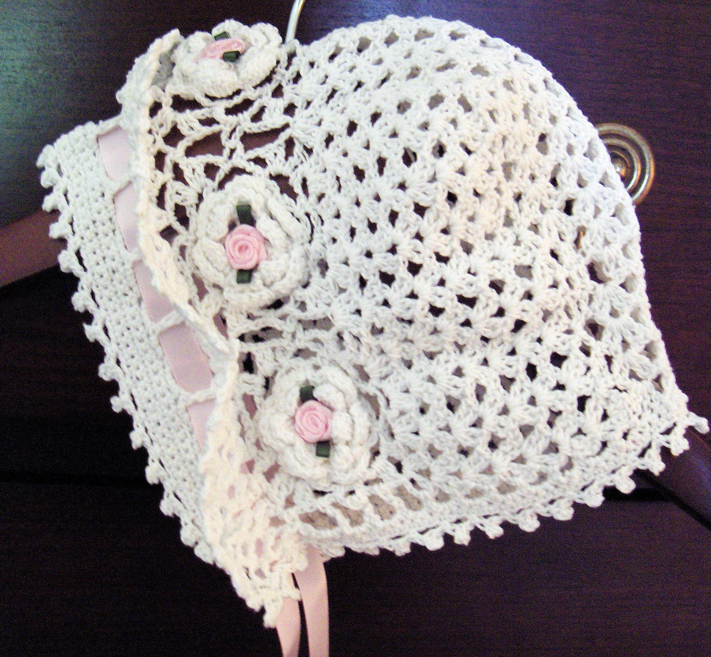 Image detail for -Crochet Baby Bonnet Hat Cap Christening Reborn ...