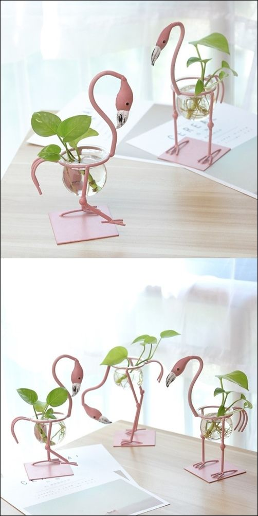 Creative Pink Flamingo Plant Ornament Vase