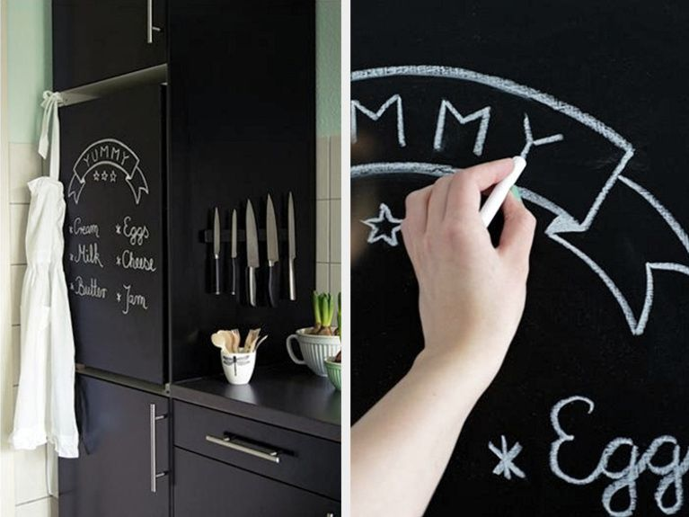 diy anleitung k hlschrank mit tafelfarbe bemalen via home decor pinterest. Black Bedroom Furniture Sets. Home Design Ideas