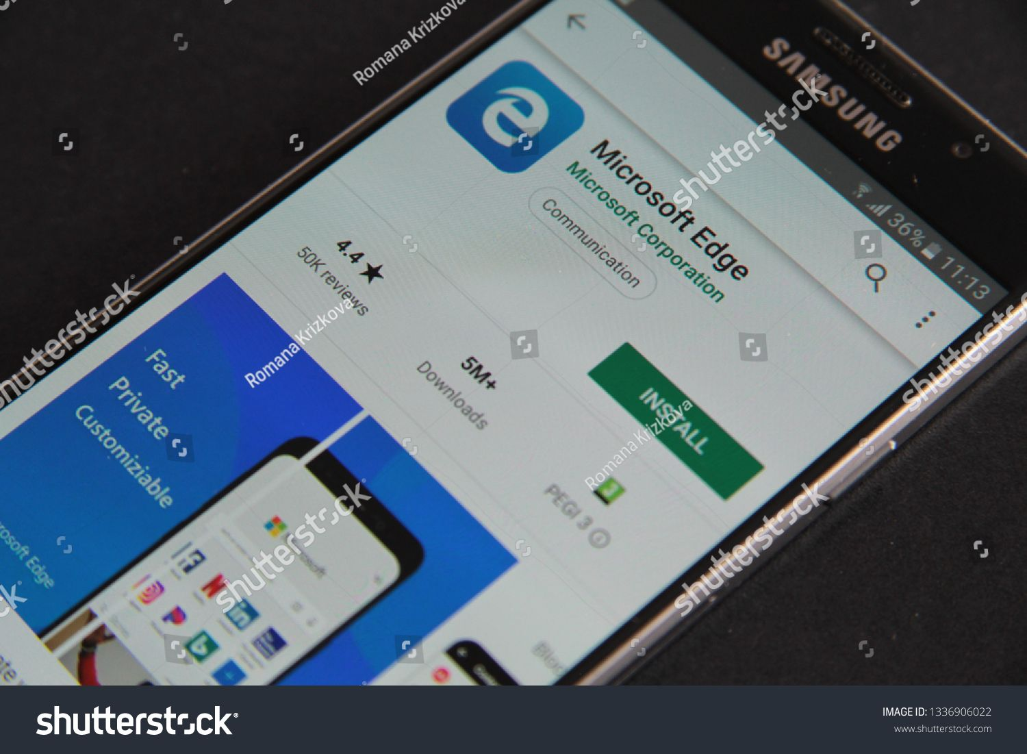 Prague, Czech Republic - March 12 2019: Microsoft Edge mobile app on the display of Samsung mobile phone #Ad , #spon, #March#Prague#Czech#Republic