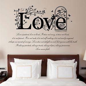 1 Corinthians 13 V 4 8 Bible Quote Vinyl Wall Art Stickers Decal Bedroom Ebay Wall Decals For Bedroom Sticker Wall Art Vinyl Wall Art