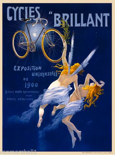 Cycles Gladiator Vintage CANVAS Art Nouveau Print French Advertising Bicycle