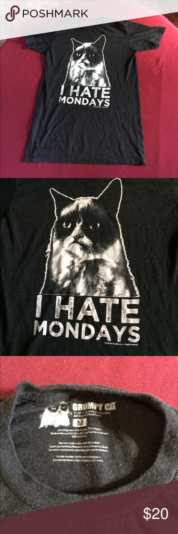 "Grumpy Cat ""I hate Mondays"" medium t shirt Grumpy disorder medium, black t shirt Shirts Tees - Short Sleeve"