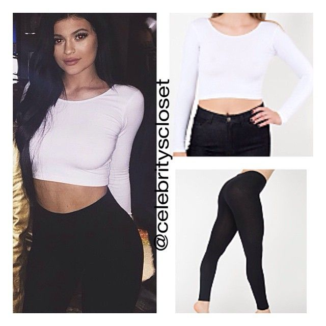 {CHEAPER OPTION} • Cotton Spandex Jersey Long Sleeve Crop Top $16.00 via americanapparel.net • Cotton Spandex Jersey Legging $14.00 via americanapparel.net #kyliejenner #americanapparel