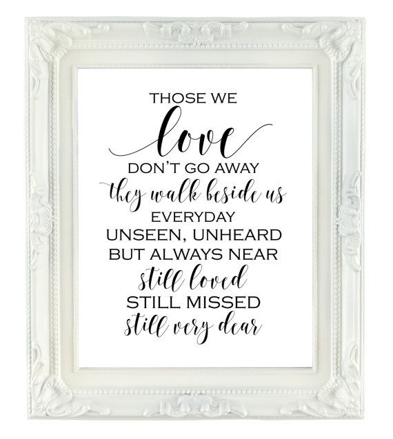 Download Those We Love Don't Go Away, Memorial Sign, 8x10 Printable ...
