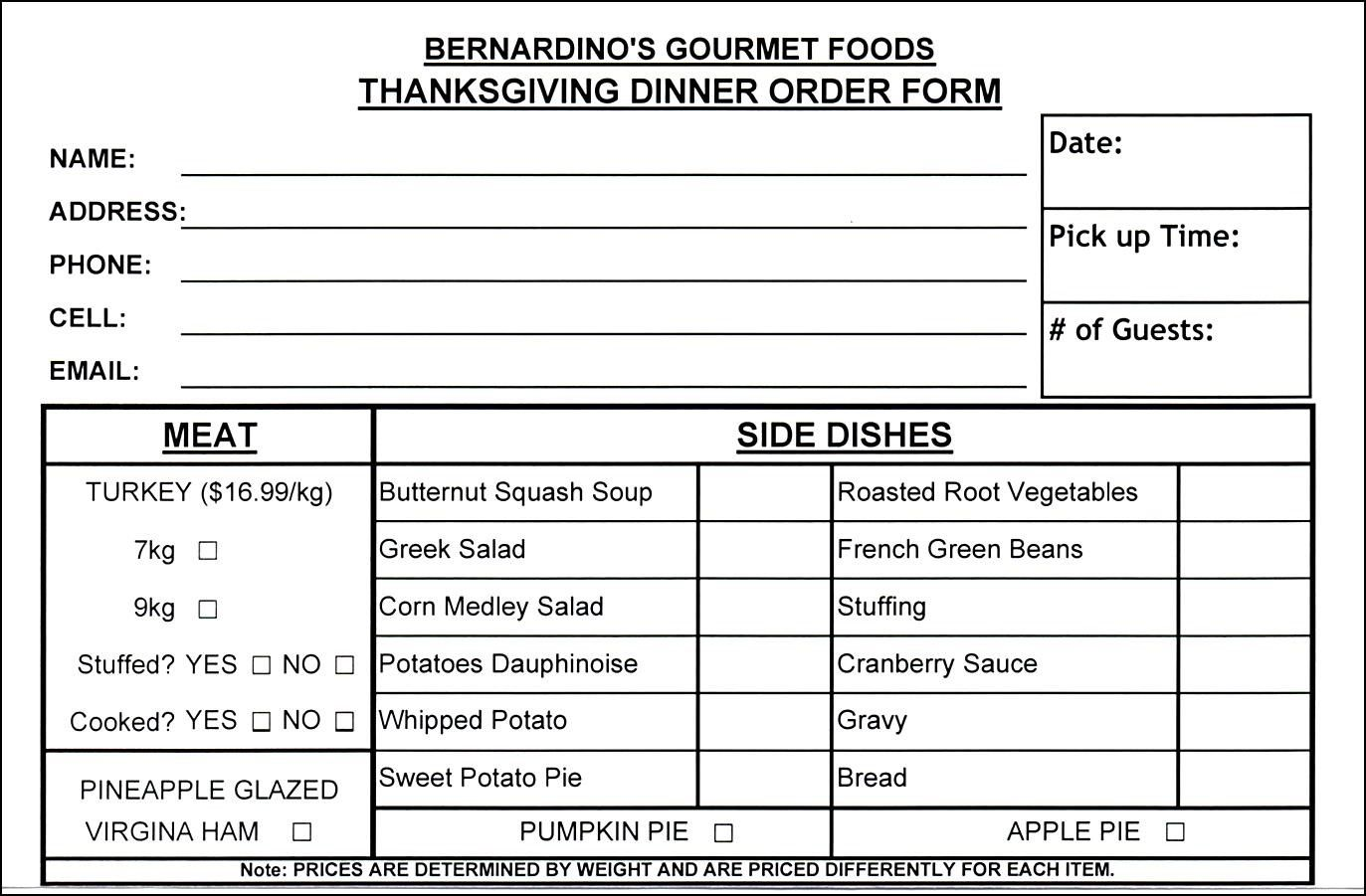 Thanksgiving Food Order Form Template | Besttemplates123