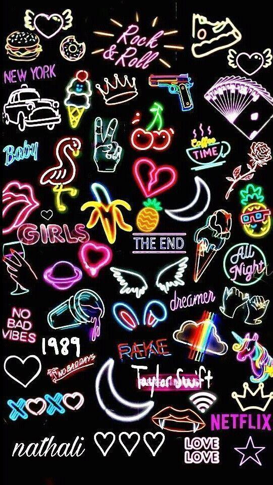 wallpaper negro con neon