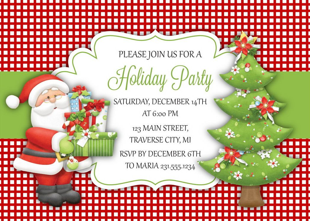 Santa Tree Christmas Party Invitations | Everything Christmas ...