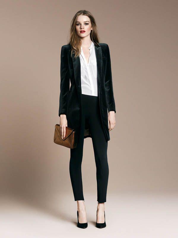 750acacc24 Casual Work Velvet Coat White Blouse Black Pants Black Heels
