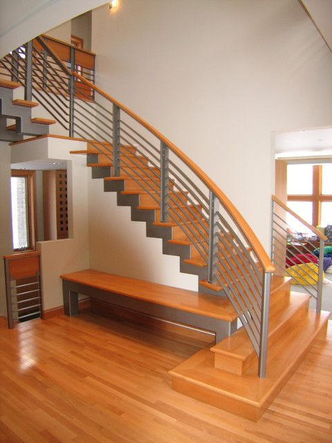 Best Modern Stairs Metal Wood Railing Google Search Stairs Design Staircase Contemporary 400 x 300