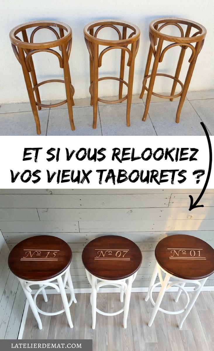 Tabourets Cannes Comment Leur Donner Un Nouveau Look L Atelier De Mat Tabouret Relooking Tabouret Meubles Recycles
