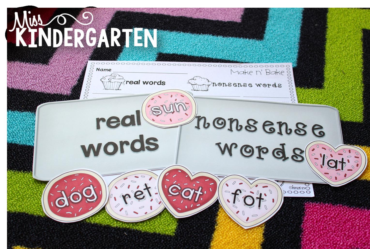 Miss Kindergarten Make N Bake Real And Nonsense Word