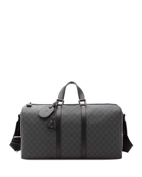 4659b460bb849a GUCCI Gg Supreme Canvas Large Carry-On Duffel Bag, Black. #gucci #bags  #leather #lining #canvas #nylon #
