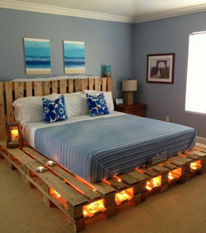 Cama de palet con luces camas pinterest camas luces for Bases de cama hechas con tarimas
