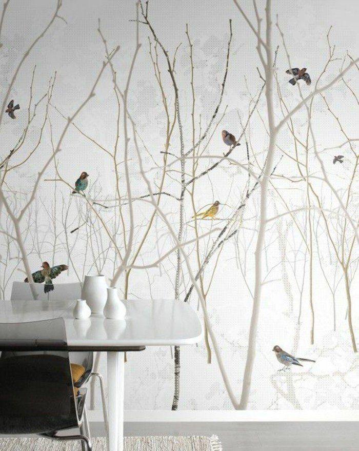 Wohnzimmer-Tapete im skandinavischen Stil, Panorama-Tapete #wohnzimmerideenwandgestaltung