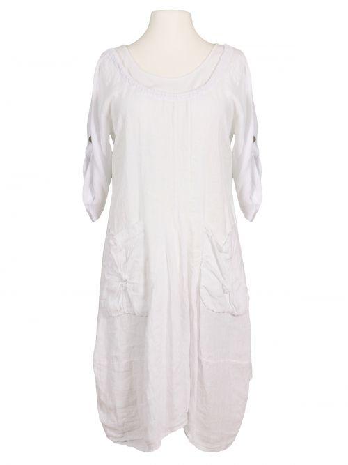 Kleid A-Form Leinen, weiss | Modestil, Kleider, Leinenkleid