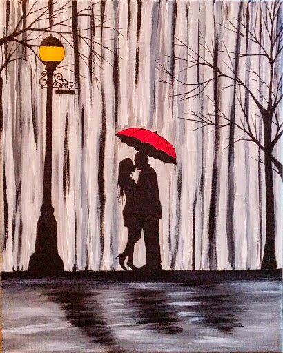 Original Couple In Rain Painting,Couple Kissing In The Rain Wall Art,Couple With Red Umbrella