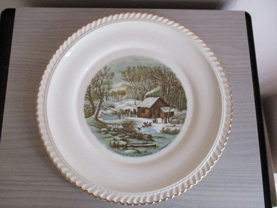 Vintage Harkerware Currier & Ives A Home in by UniquelyFoundForYou ...