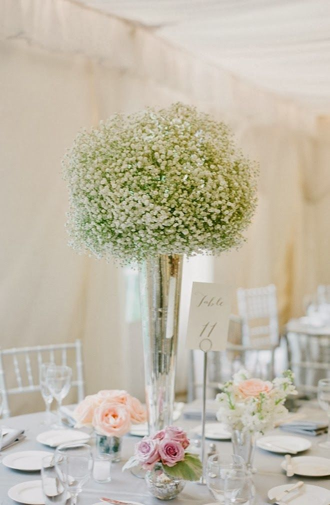 Baby S Breath Centerpiece In Tall Vases Baby S Breath On Tall Silver Vase Jodi Mille Wedding Centerpieces Cheap Wedding Flowers Flower Centerpieces Wedding