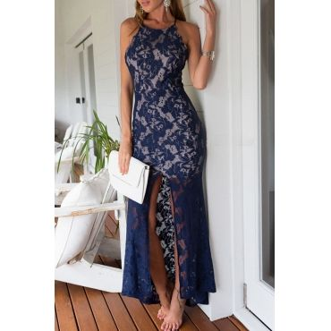 Cheap Sexy O Neck Spaghetti Strap Sleeveless Backless Front Split Blue Polyester Sheath Ankle Length Dress_Dresses_Womens Clothing_LovelyWholesale | Wholesale Shoes,Wholesale Clothing, Cheap Clothes,Cheap Shoes Online. - LovelyWholesale.com