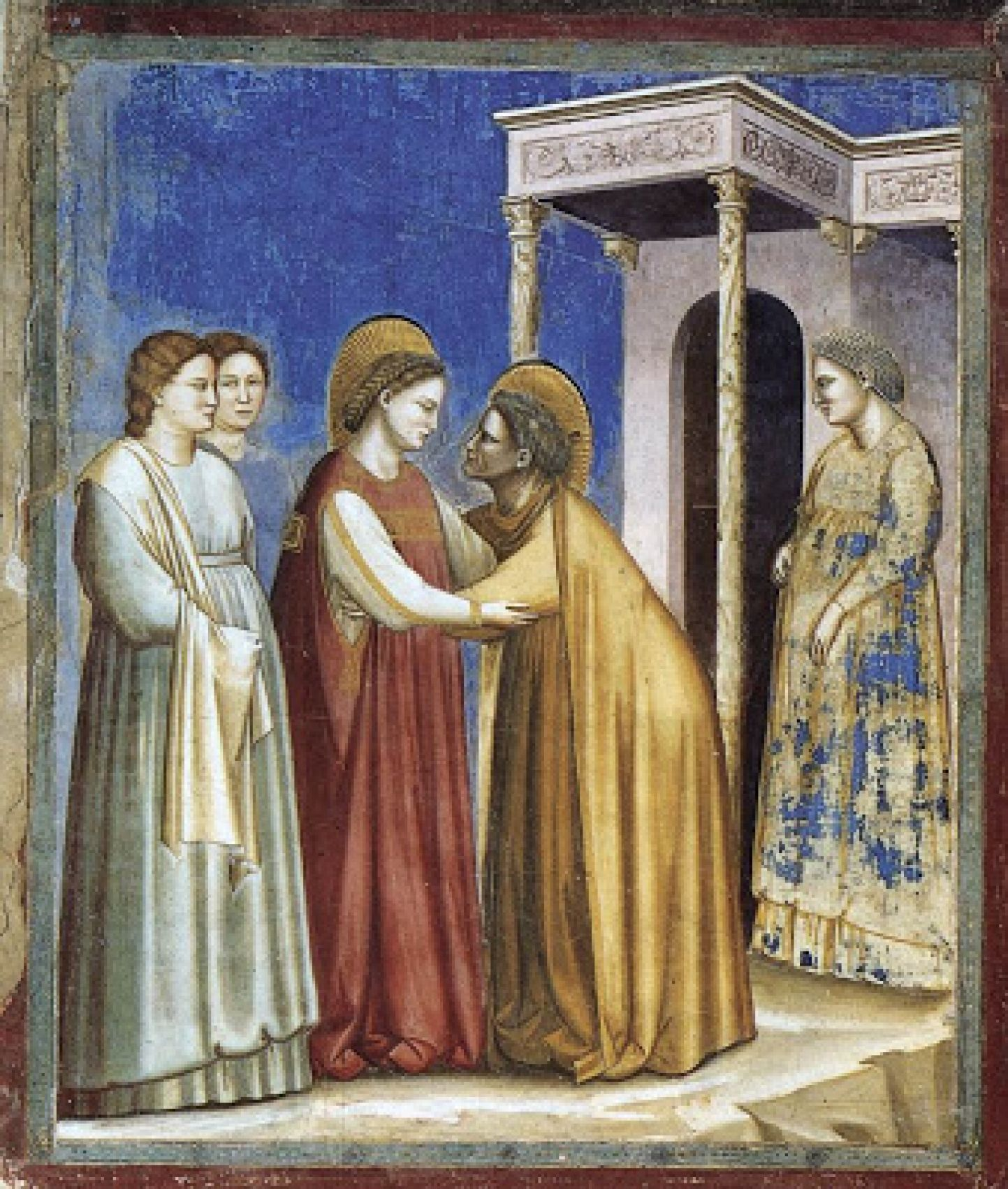 Giotto - The Visitation - Mary is weating a cream ...  Giotto - The Vi...