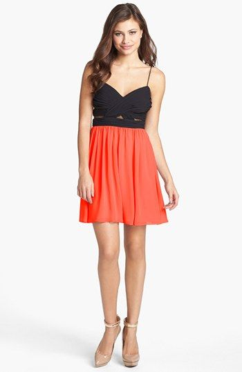 Hailey Logan Mesh Inset Chiffon Skater Dress (Juniors) (Online Only) available at #Nordstrom