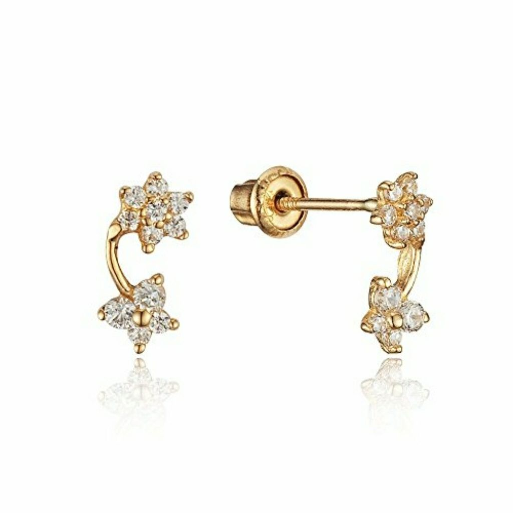 5dc3b5365 14k Yellow Gold Flower Butterfly Girls Earrings | Products ...