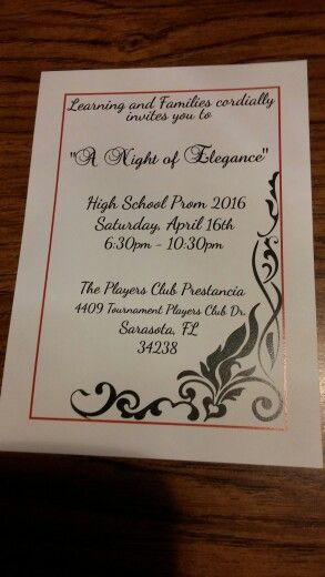 """LAF Ticket to the prom """"A Night of Elegance"""" 2016"""
