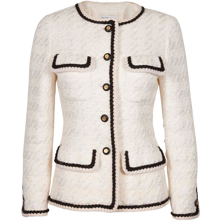 ec0c626bbd10 CREAM AND BLACK TRIM CHANEL JACKET (may have to get a knock off or sew my  own)