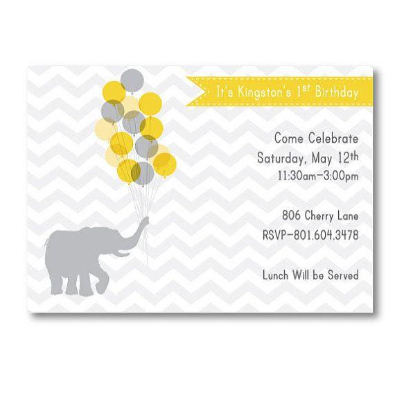 Modern Elephant Birthday Invite by LittleMissMissy on Etsy, $18.00