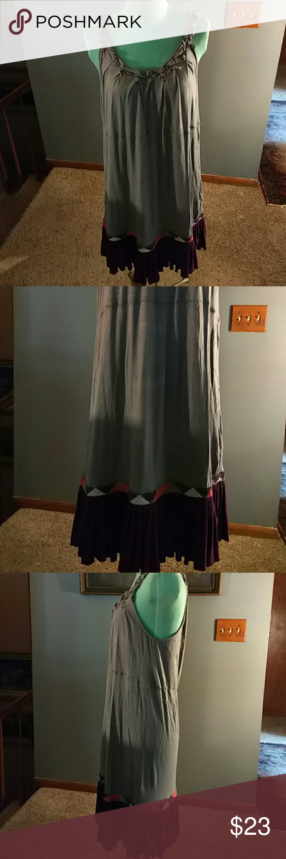 """Free People Dress Grey cotton dress with scoop neck line front and back has elastic around neckline and straps burgundy colored around the bottom part with a embroidery design above that looser fit 40"""" long Free People Dresses"""