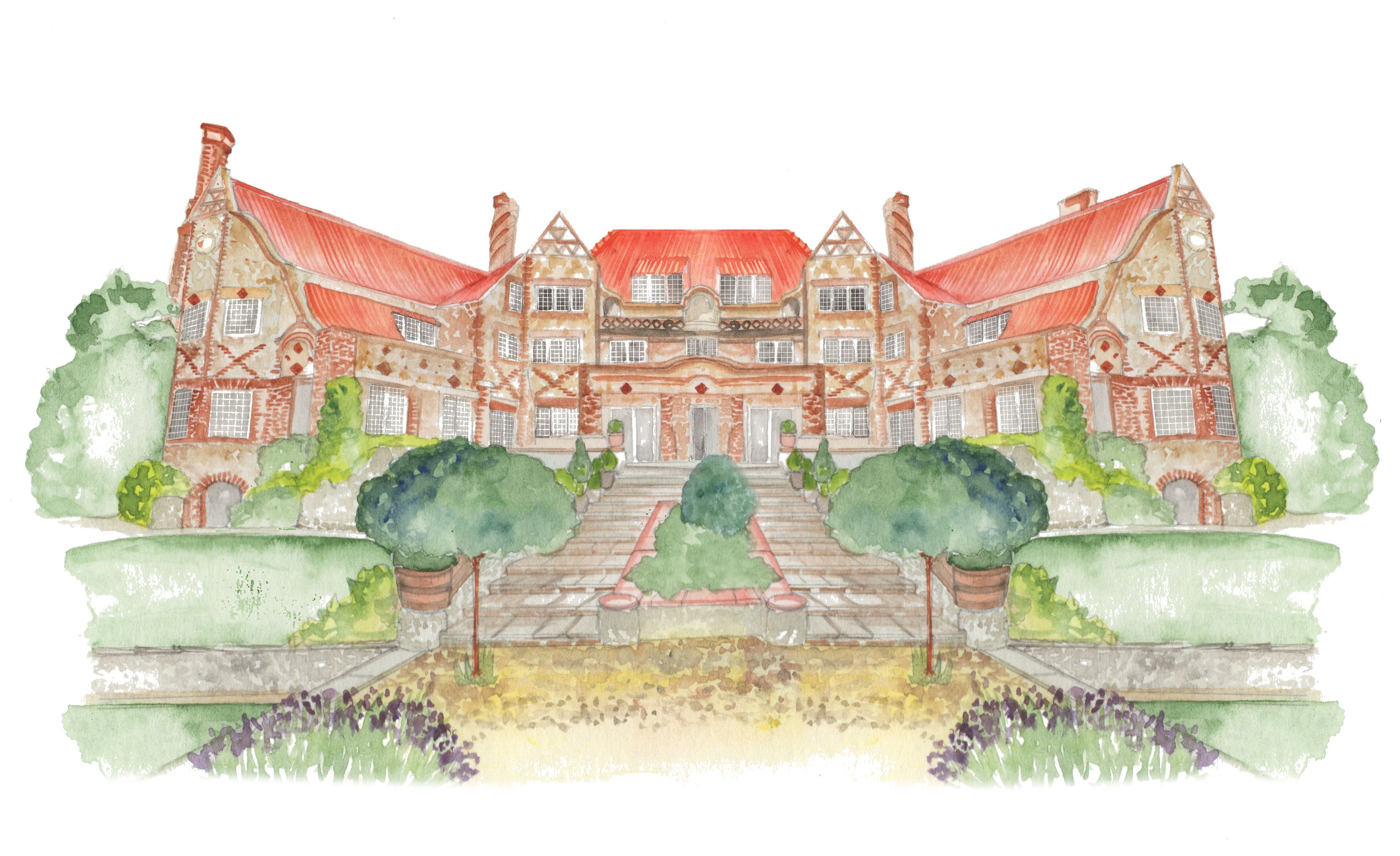 Watercolour Venue Illustration Of Voewood House Commission Your