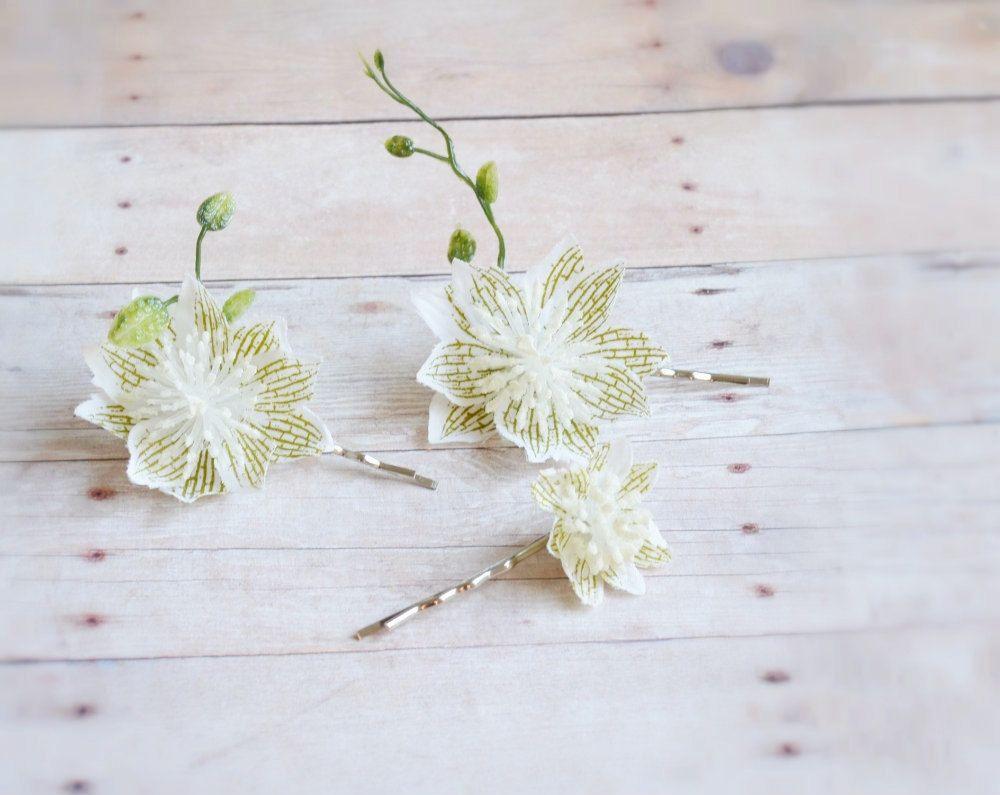 Bohemian Hair Pins White Flower Bobby Pins Woodland Hair Clips