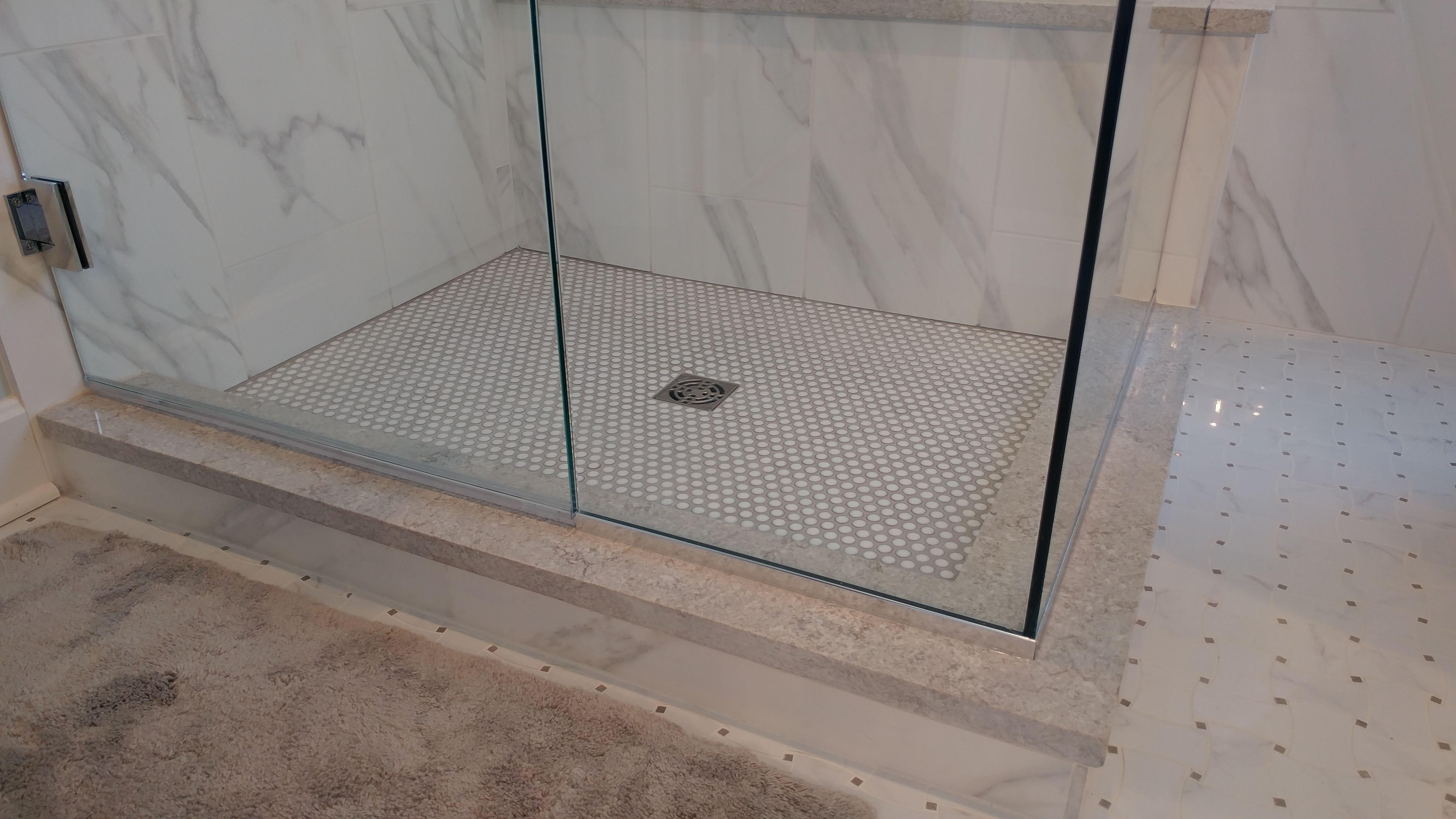 Tiled Custom Shower Base And Bathroom Floor Custom Shower Base