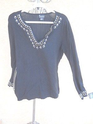 NY Collection Sweater Plus Size 1X Career Black w Silver Embroidery Sequins New