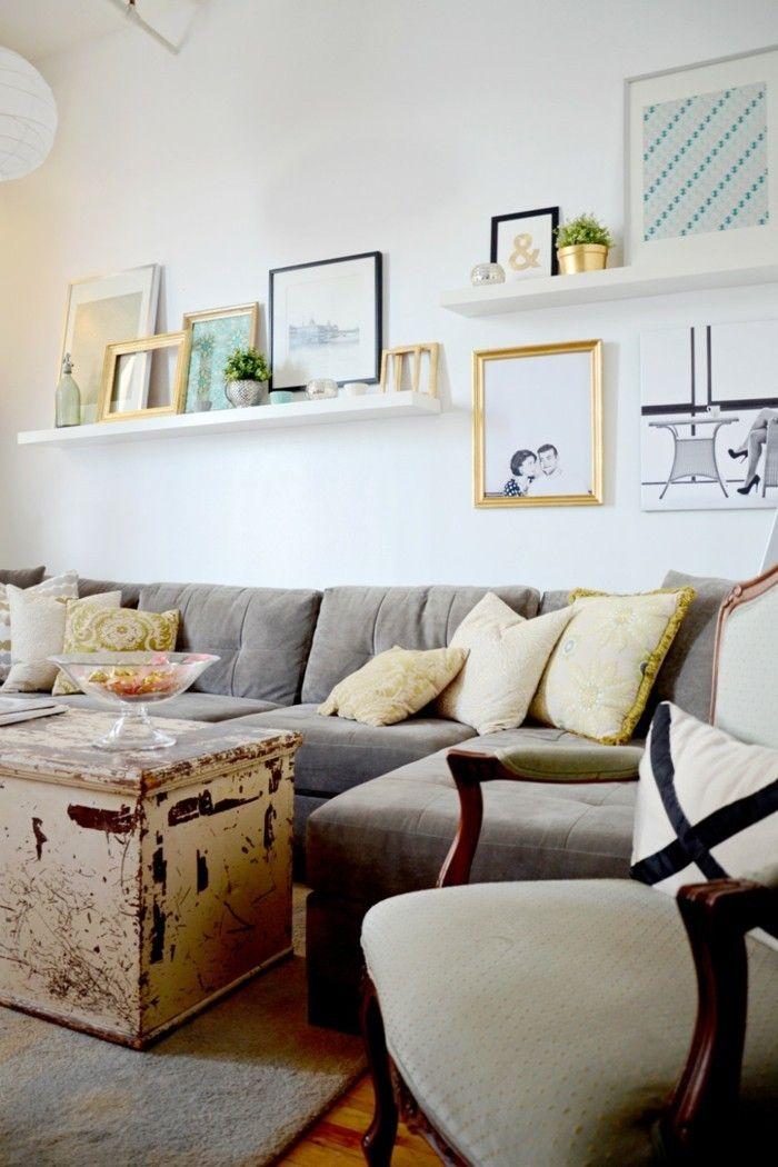Ideen Wandgestaltung Wandregale Bilderleisten Wohnzimmer Wanddesign Ideen  Dekokissen