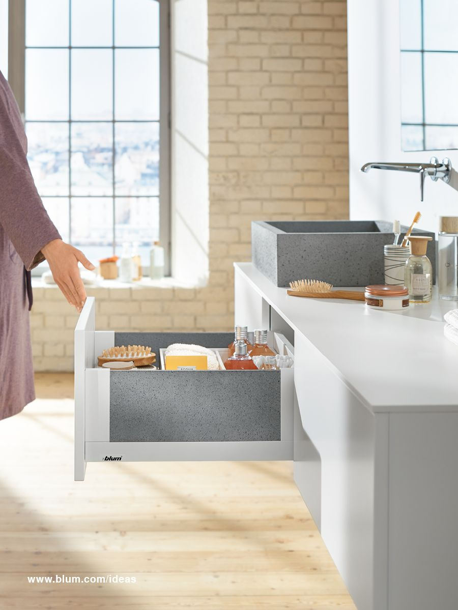 Bathroom Furniture Design Idea With LEGRABOX Free, The Box System From Blum.  Insert Any Material You Like To Get Your Personal Design.