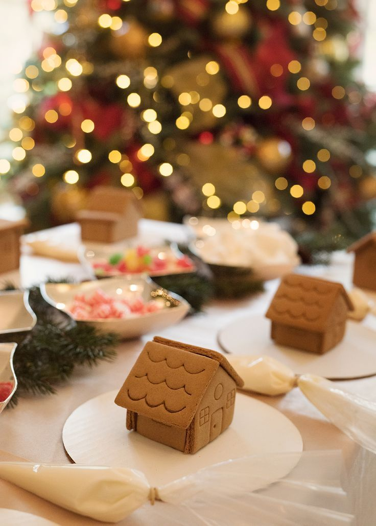 Magical Christmas Birthday Holiday gingerbread house station   Click here for all beautiful details of a holiday birthday party! J. Cathell