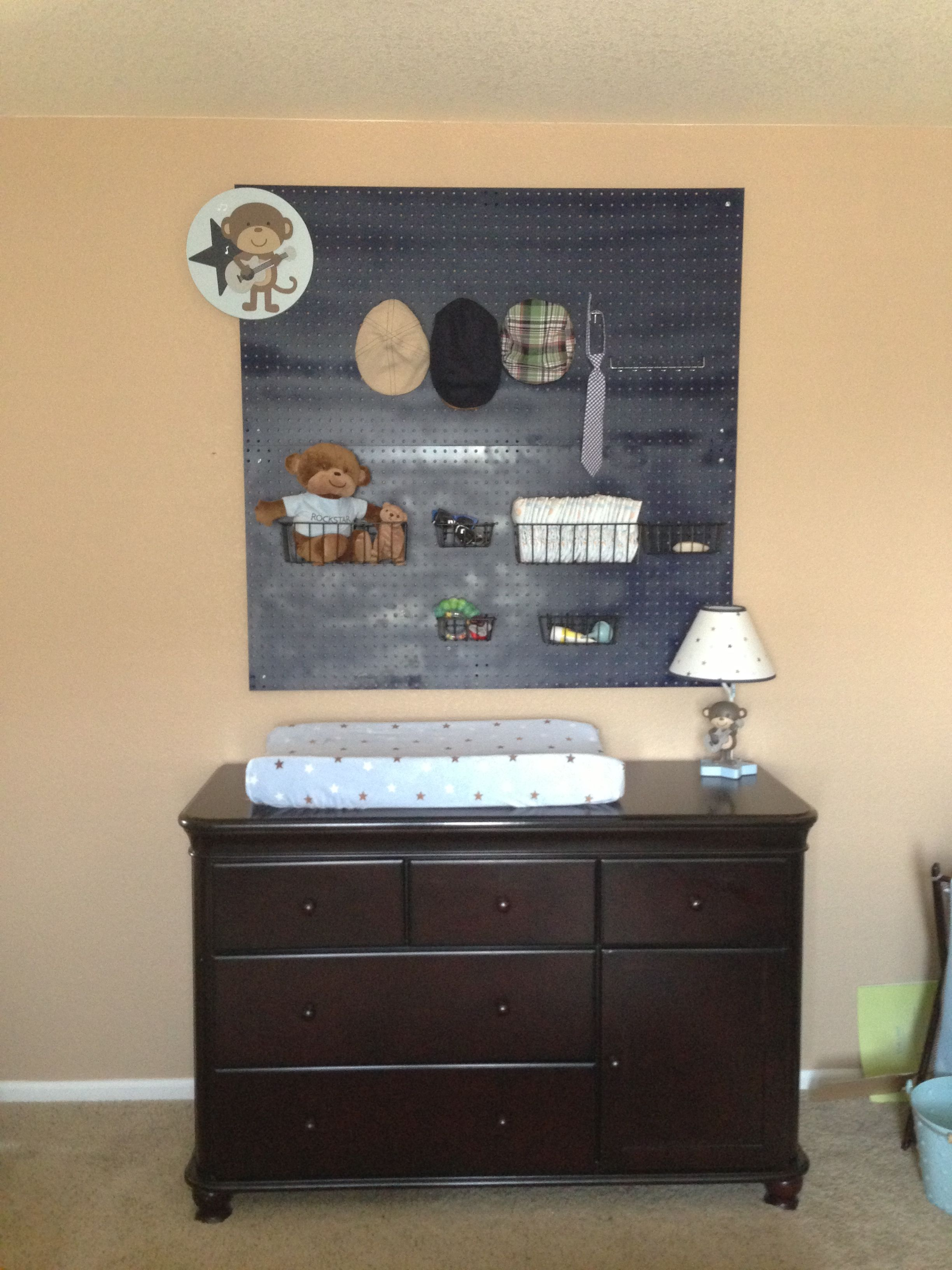 Pegboard in baby boys room! Just needs a few more items for a complete changing station