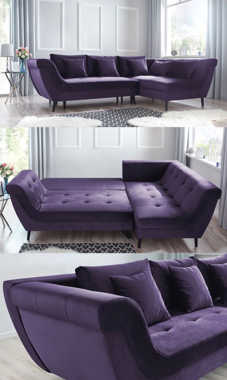Real canapé angle convertible violet prune salon chic ...
