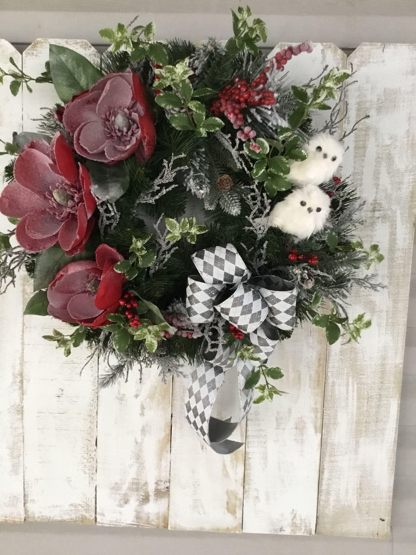 Photo of Christmas Wreath, Magnolia Wreath for Front Door,Winter Wreath,  Christmas Owls,…