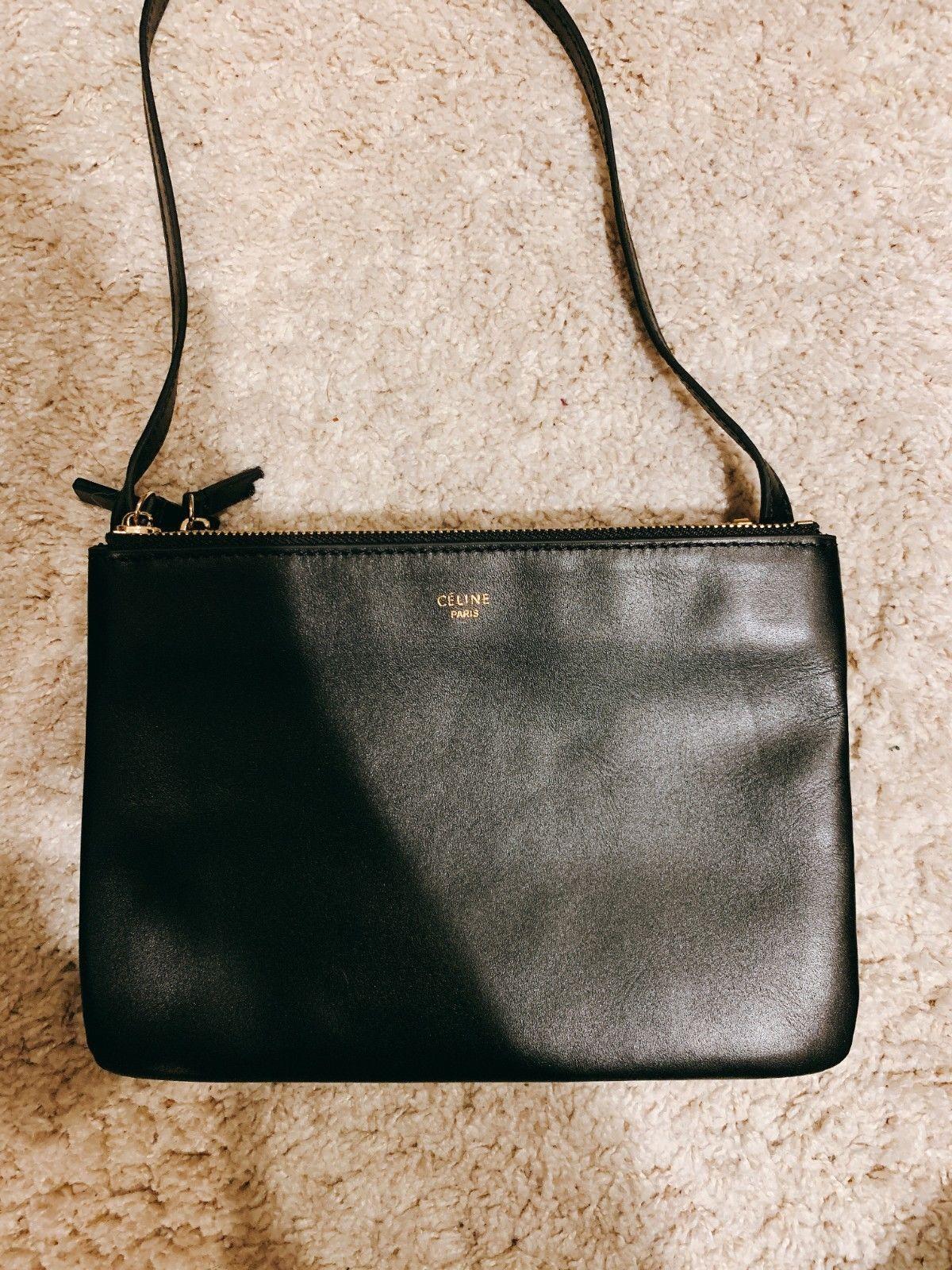 CELINE Trio Large Black Leather Cross Body Bag | Crossbody